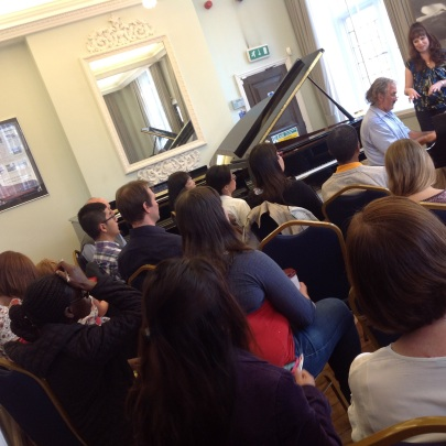 Demonstrating at a recent workshop at Yamaha Music London, with piano enthusiast, Roger Toye.