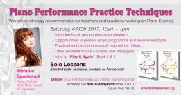Forthcoming workshop in Singapore for students and teachers, focusing on piano exams.